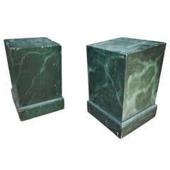 Pair of Vintage Malachite Painted Wood Pedestals, c. Early 20th Century