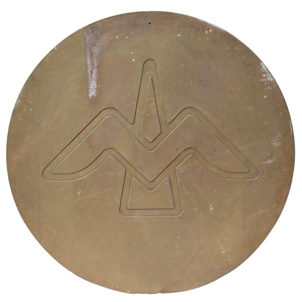 Round Bronze Sculpture of Bird