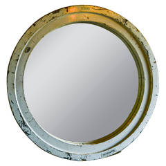 Monumental French Circular Wooden Industrial Mirror