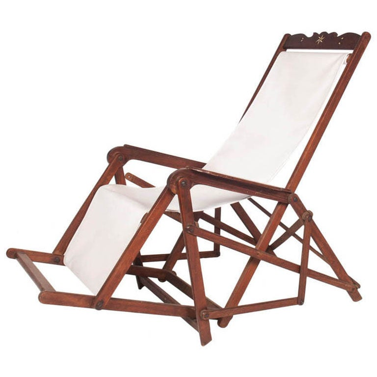 Vintage Deck Chair with Inlay For Sale - Vintage Deck Chair With Inlay For Sale At 1stdibs