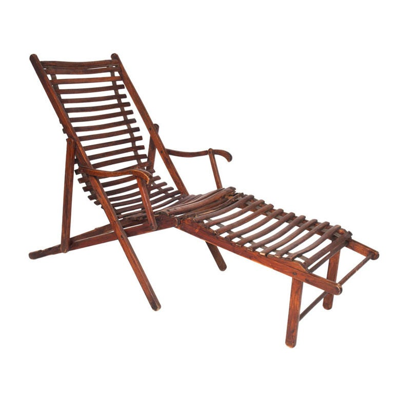 Vintage Slatted Deck Chair At 1stdibs