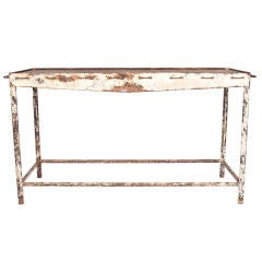 White Metal Table with perforations