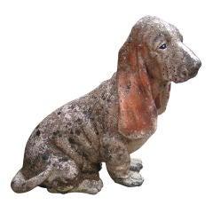 Vintage Stone Basset Hound Garden Sculpture