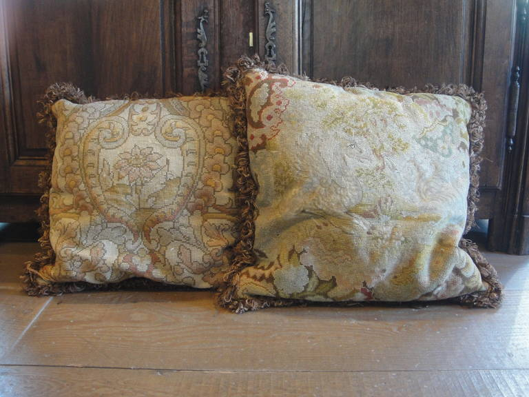 Vintage tapestries converted to pillows. Tapestry believed to be 19th century, recently transformed into pillows.