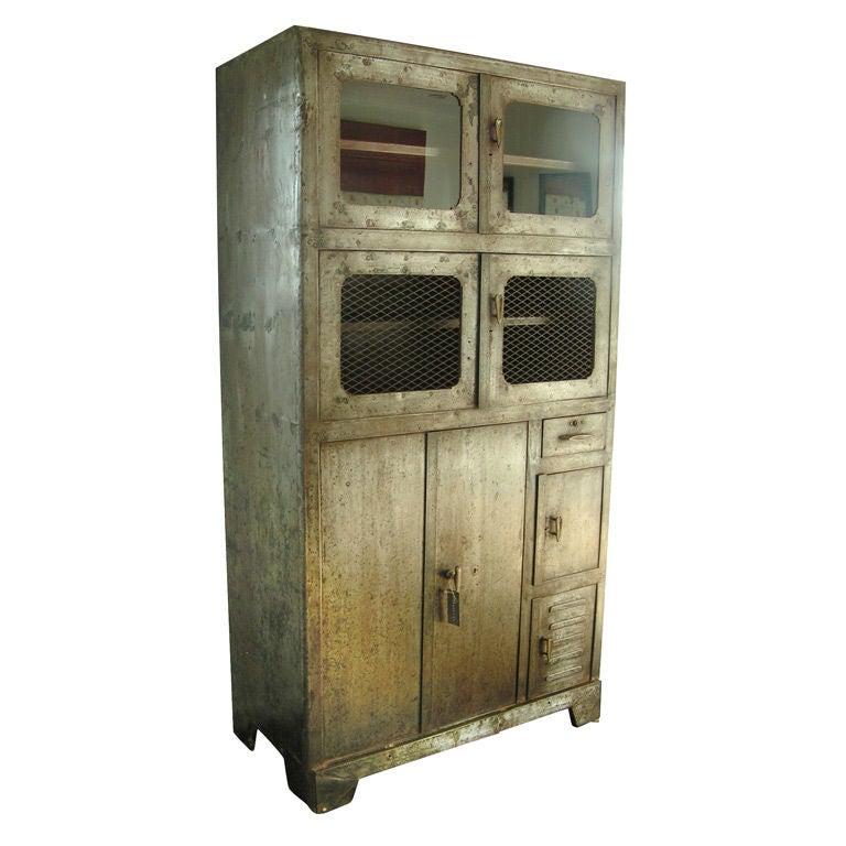 Vintage Metal Storage Cabinet, c. 1920's