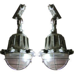 Pair of Industrial Hanging Lamps