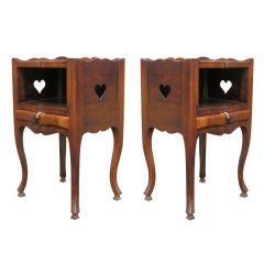 Pair of Walnut Side Tables with Heart Cut-Outs, 19th Century