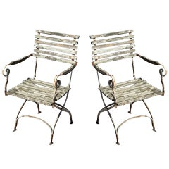 Pair of Slated Garden Chairs, c. 1880
