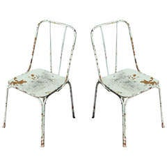 White Vintage French Garden Chairs, c. 1930's