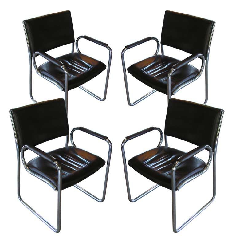 Vintage Leather and Chrome Dining Chairs, c. 1970's
