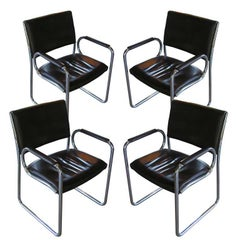 Vintage Leather and Chrome Dining Chairs, circa 1970s