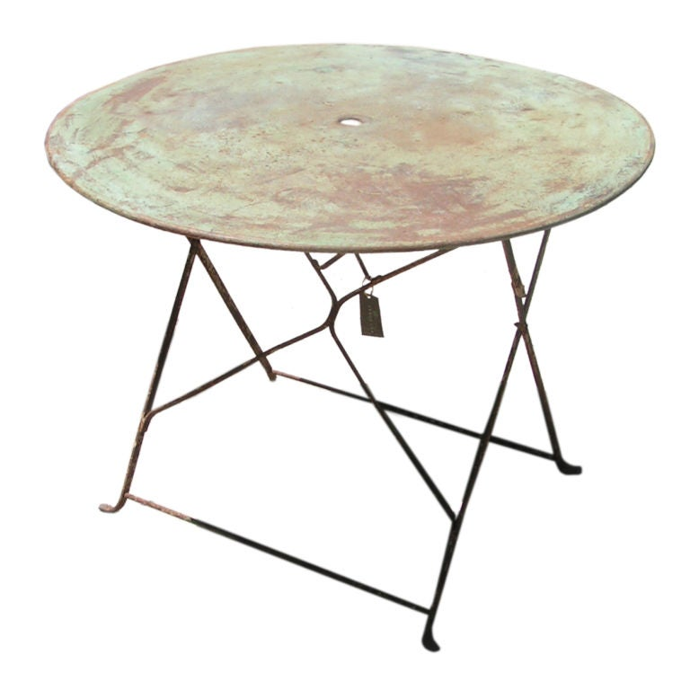 Vintage French Patina Garden Table, circa 1940s