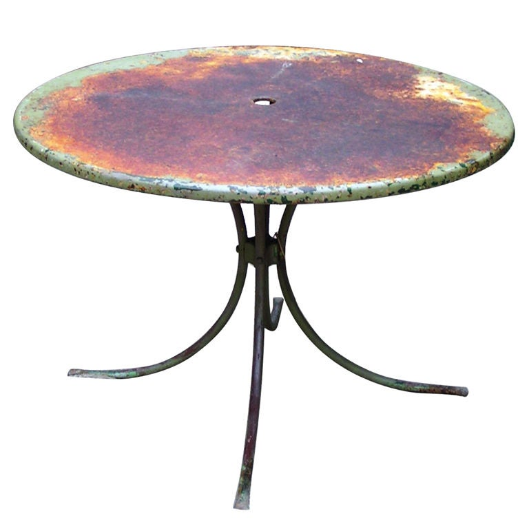 1940s Vintage American Green Garden Table For Sale