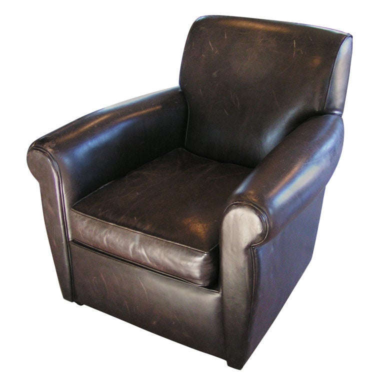 M. Gold Leather Club Chair. Antique Bear Claw ...