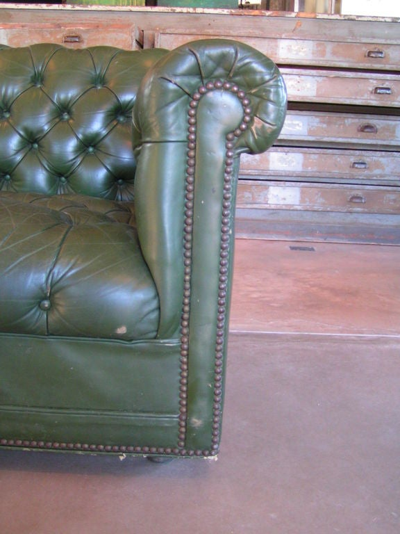 Mid-20th Century Green Tufted Chesterfield Sofa For Sale