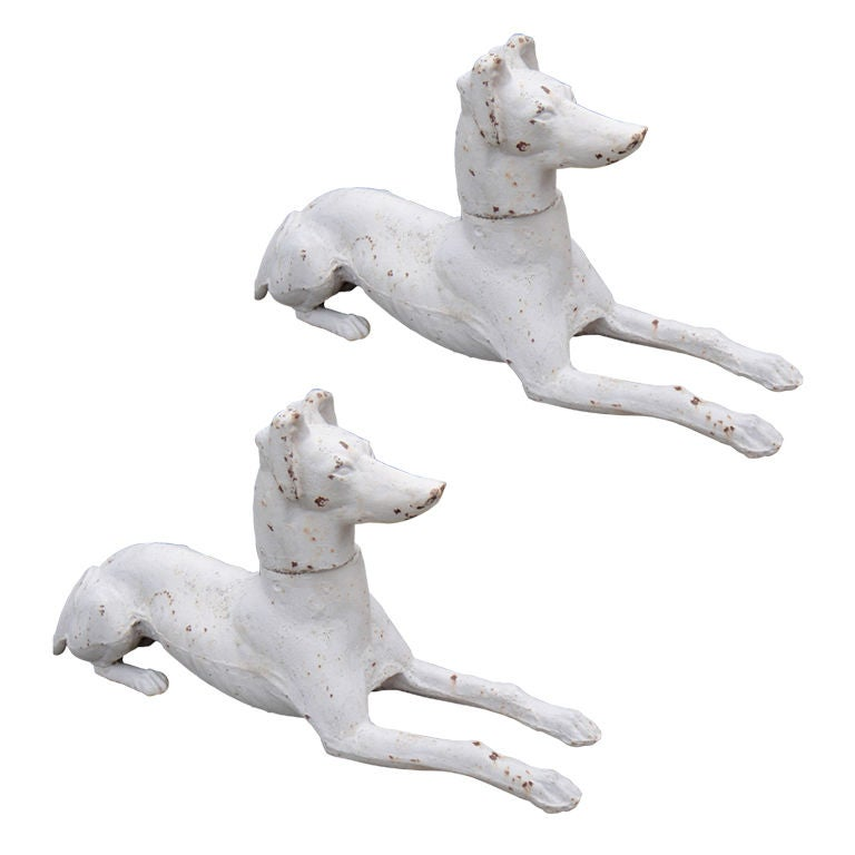 Set of Two Victorian Cast Iron Whippets, c. Late 19th Century