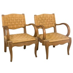 Pair of French Woven Armchairs
