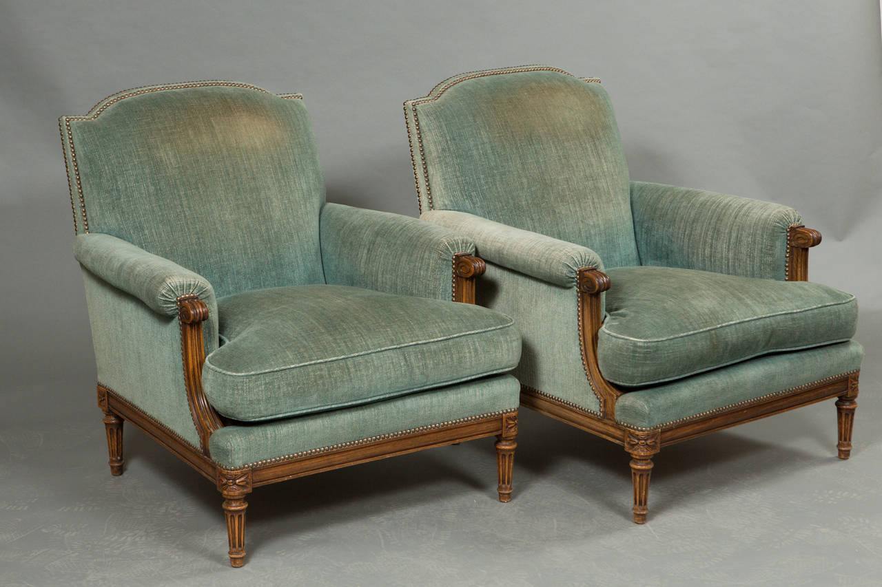 Pair of Louis XVI Style Bergeres 3