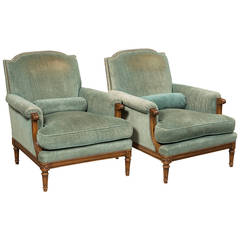 Pair of Louis XVI Style Bergeres
