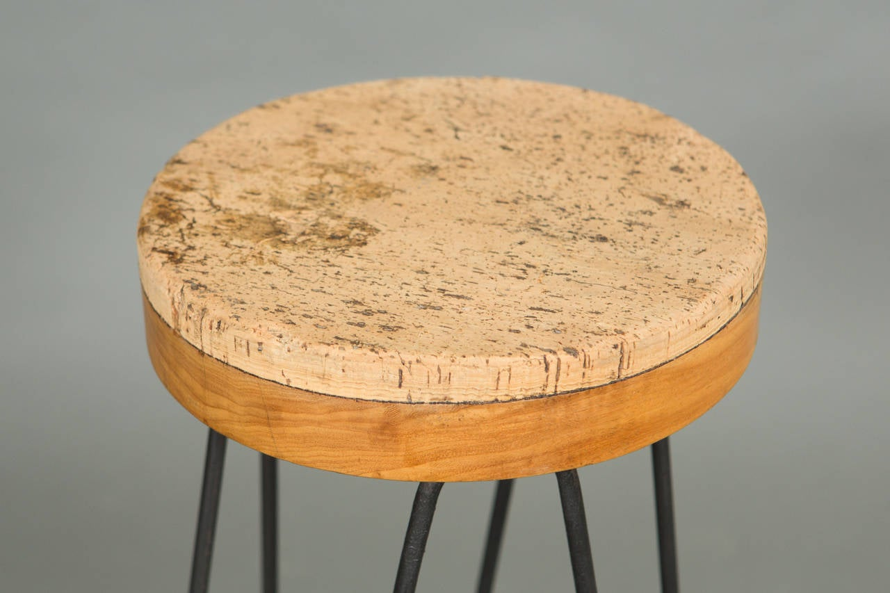 American Pair of 1960s Industrial Stools with Cork Tops For Sale