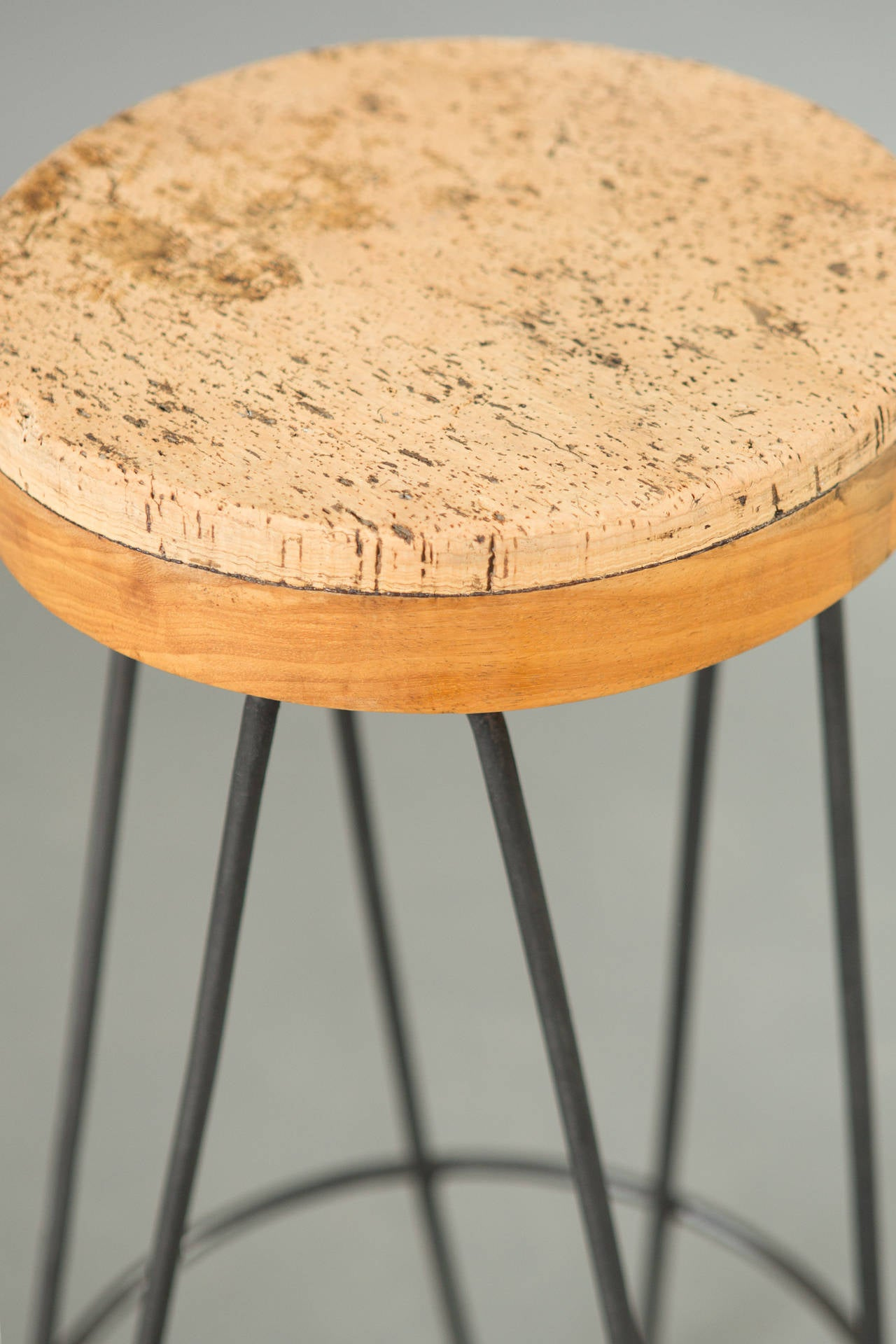Pair of 1960s Industrial Stools with Cork Tops For Sale 3