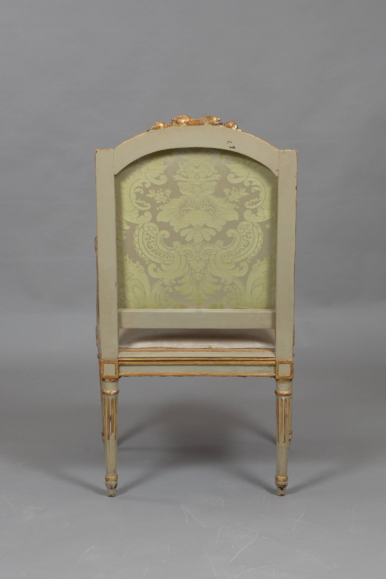 Mid-20th Century Louis XVI Style Parcel Gilt Armchair For Sale