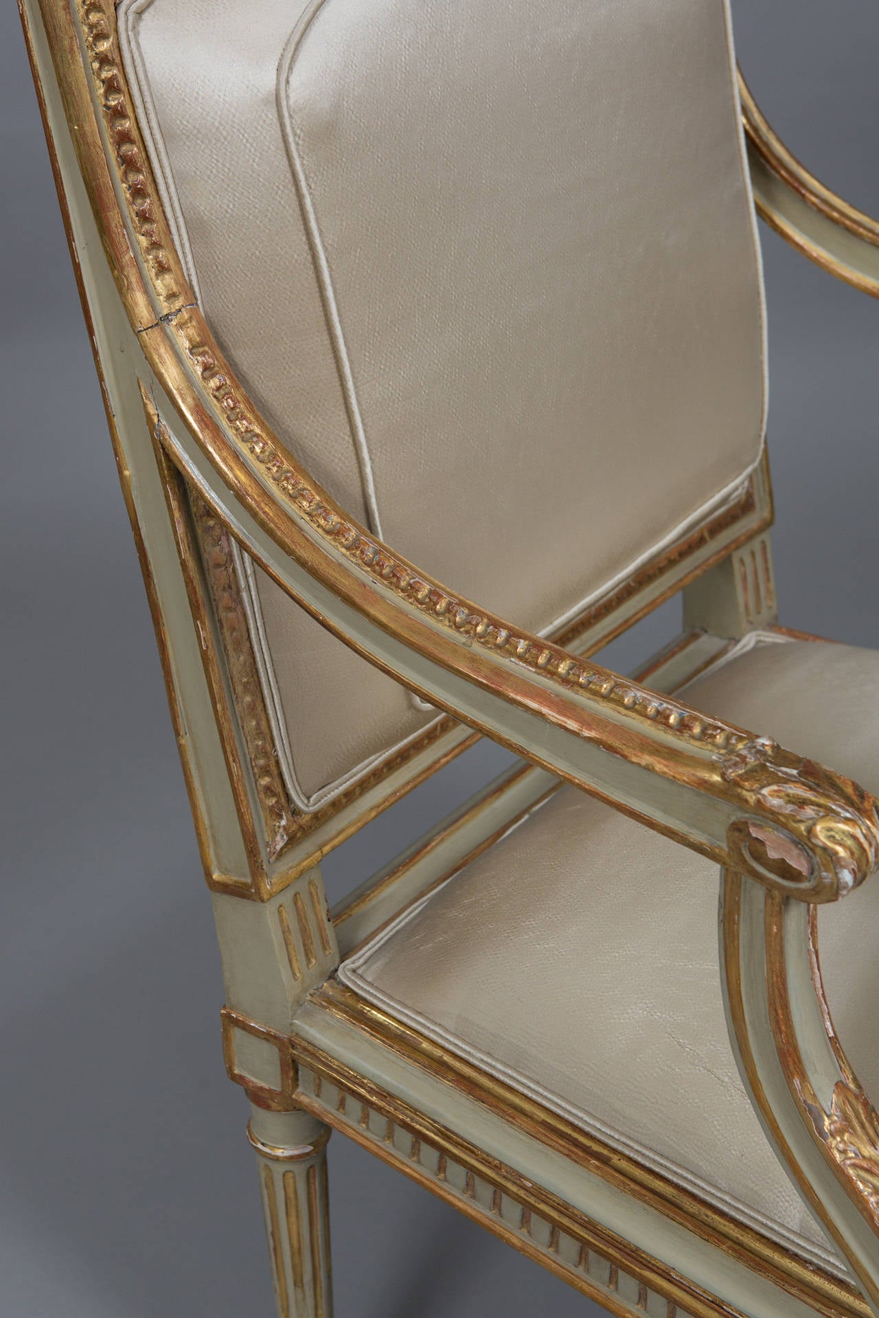 Louis XVI Style Parcel Gilt Armchair For Sale 1