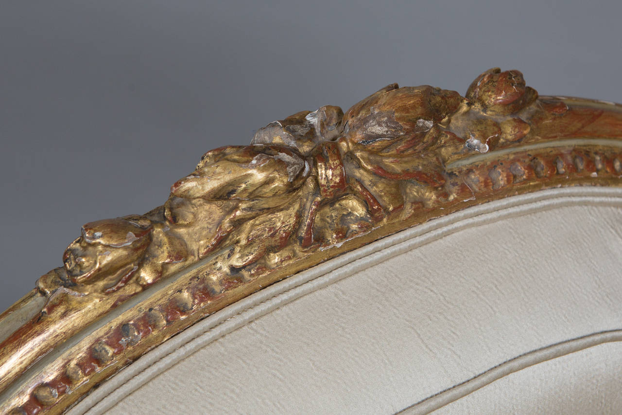 Louis XVI Style Parcel Gilt Armchair For Sale 3