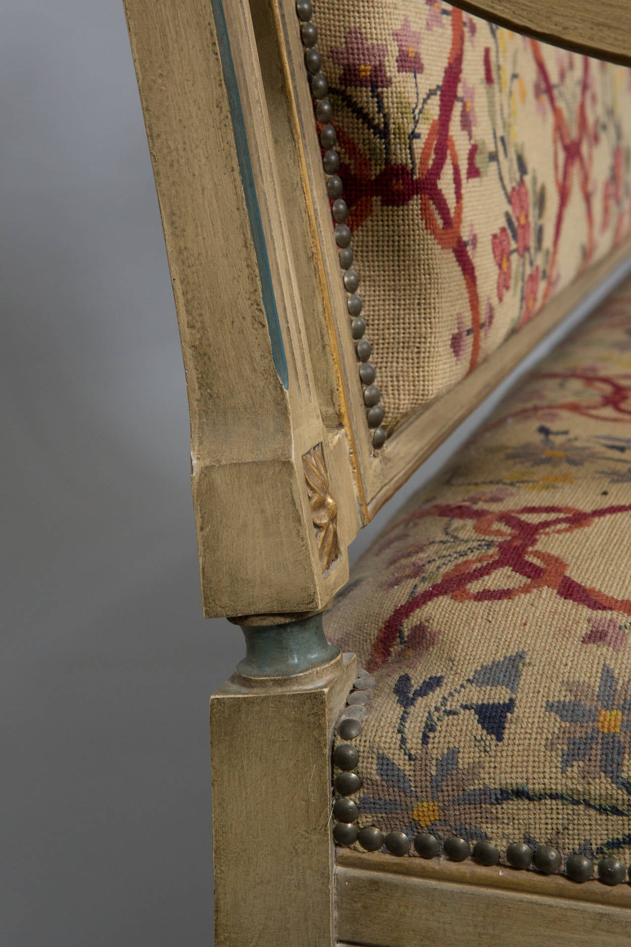 19th Century Louis XVI Style Needlepoint Upholstered Settee For Sale