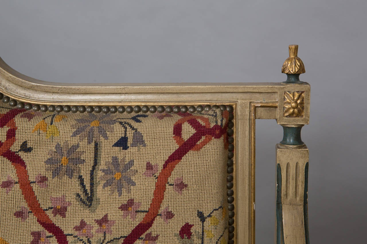Louis XVI Style Needlepoint Upholstered Settee For Sale 4