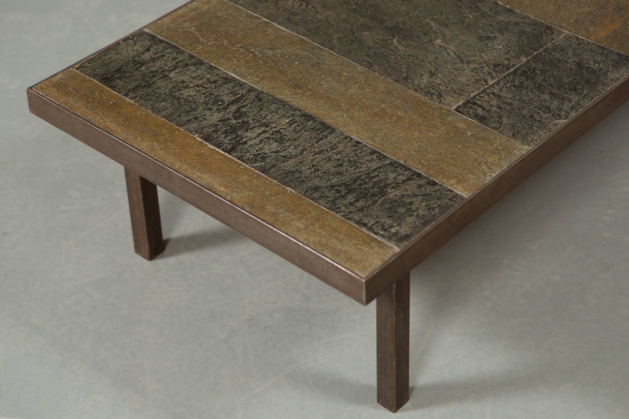 Brutalist 1960s Slate and Stone Coffee Table For Sale