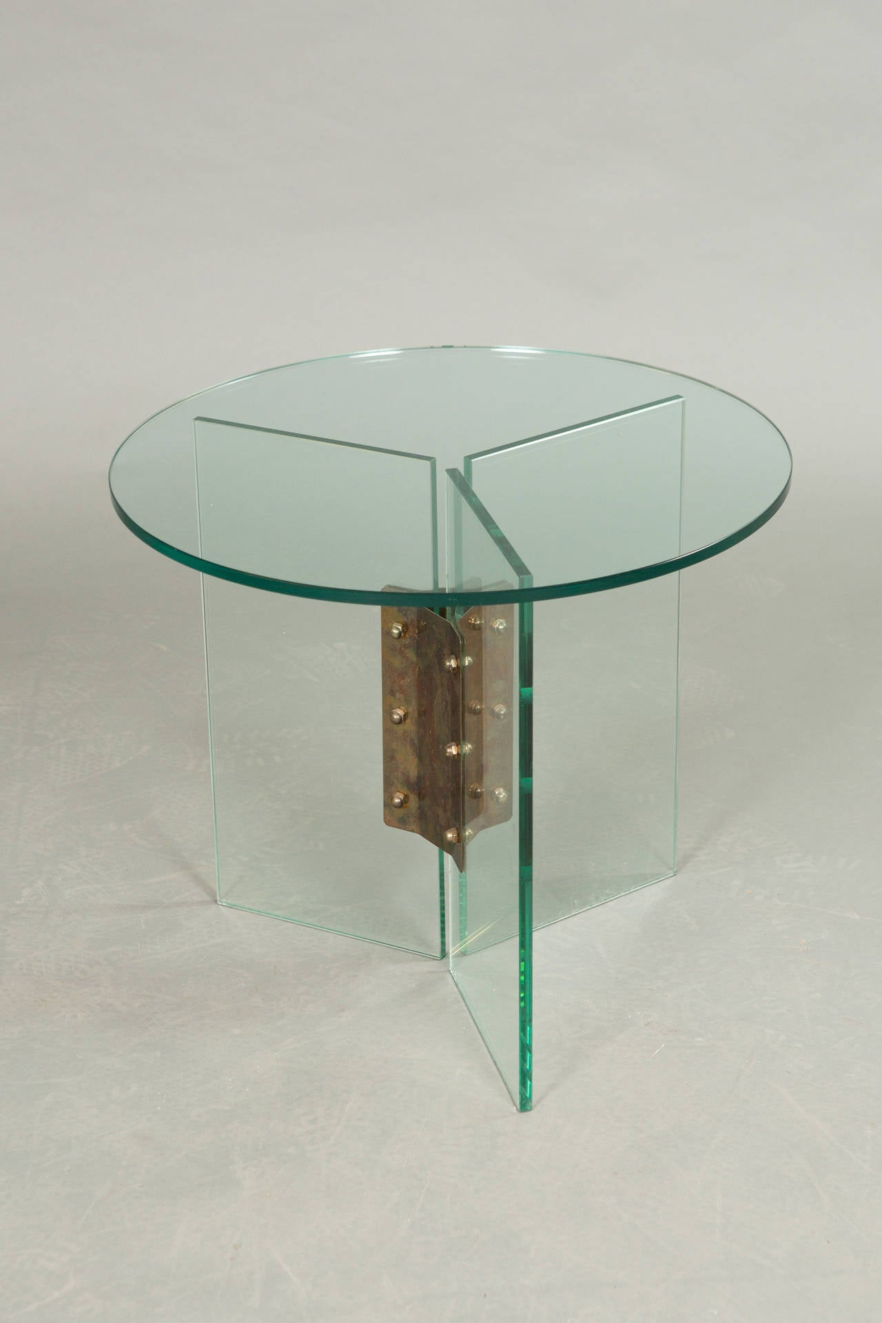 Mid century round top clear glass table at 1stdibs for 13 inch round glass table top