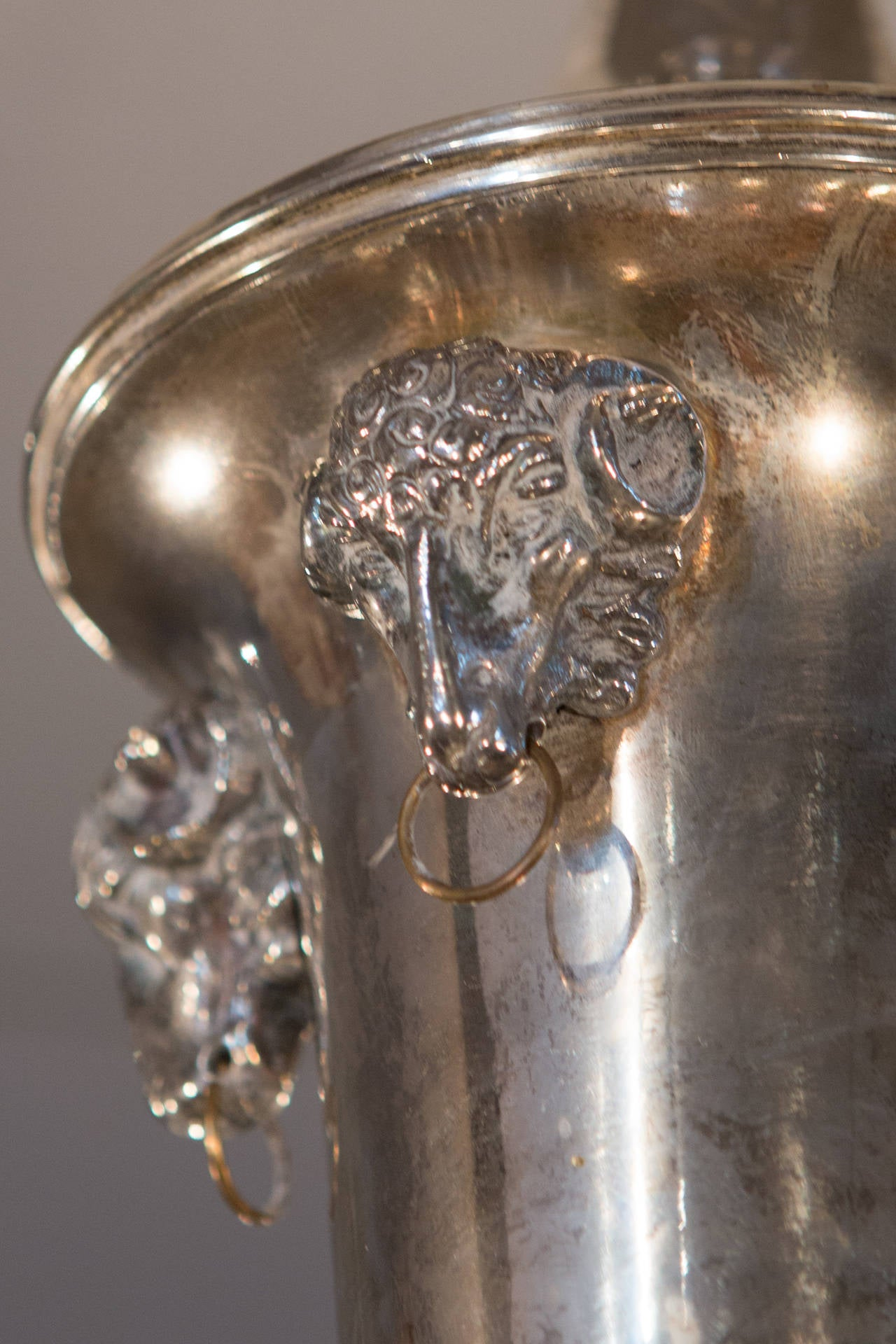 French Silver Plate Eight-Arm Chandelier with Ram's Head Detail For Sale 2