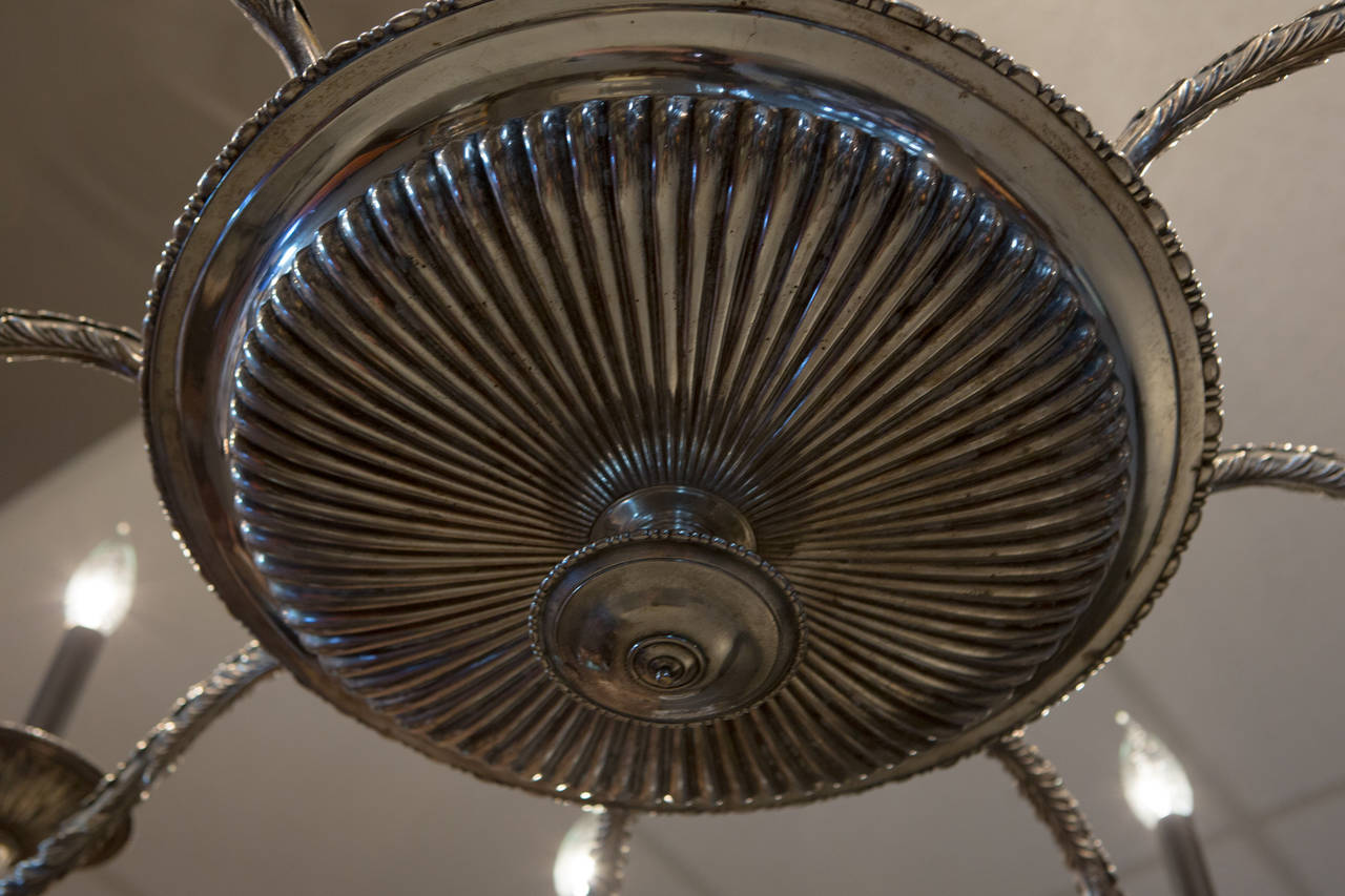 French Silver Plate Eight-Arm Chandelier with Ram's Head Detail For Sale 4
