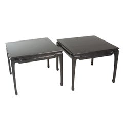 Pair of Black Lacquered Occasional Tables