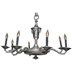 French Silver Plate Eight-Arm Chandelier with Ram's Head Detail