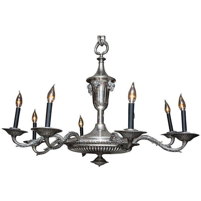 French Silver Plate Eight-Arm Chandelier with Ram's Head Detail For Sale