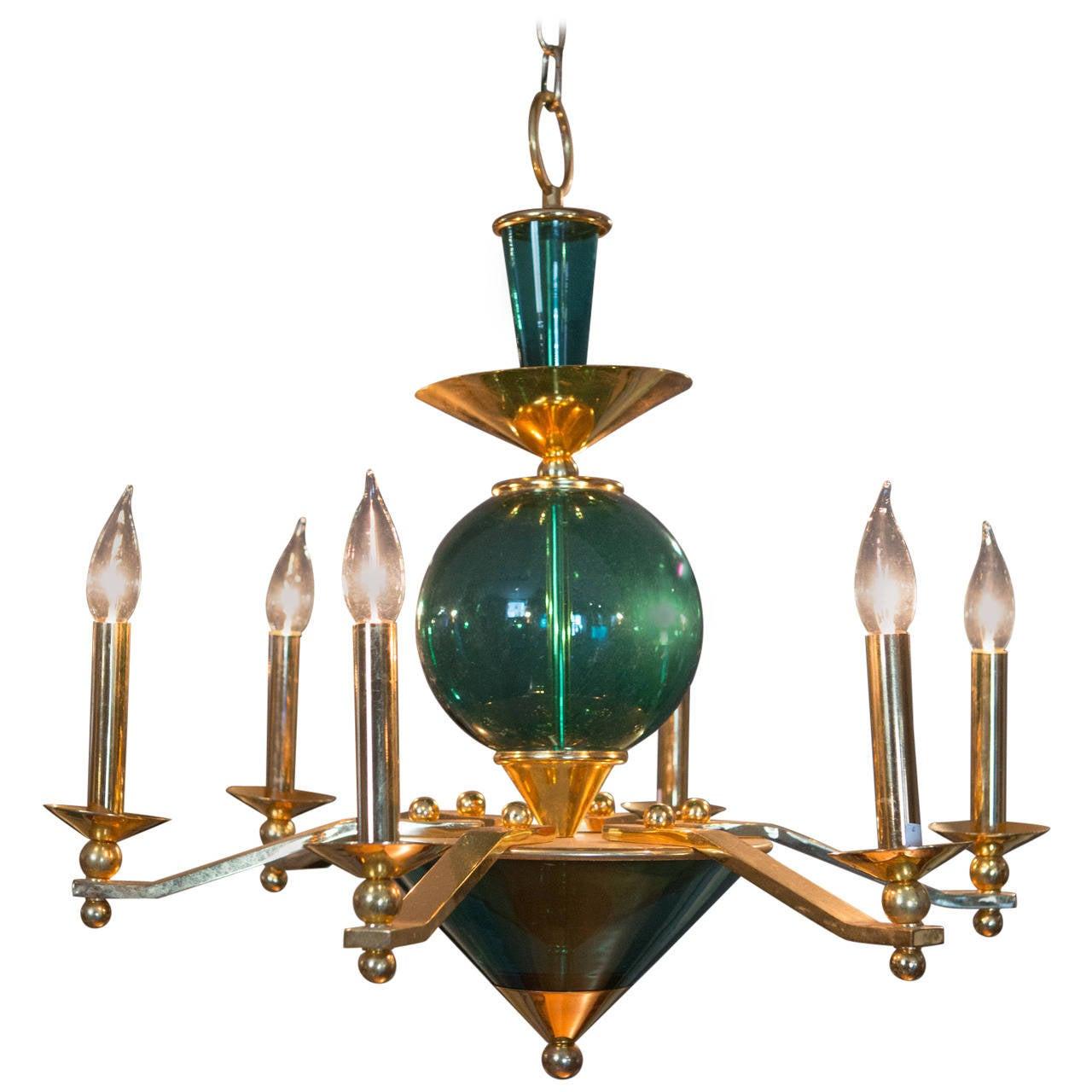 Mid-Century Six-Arm Green Glass Chandelier