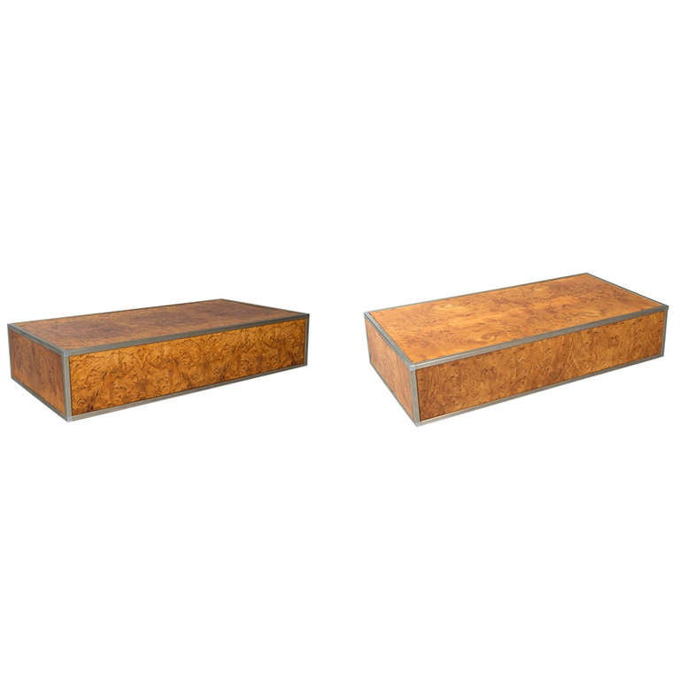 Pair Of Mid Century Burl Wood Coffee Tables For Sale At 1stdibs
