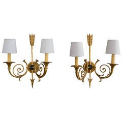 Pair of Two-Arm Empire Style Wall Sconces