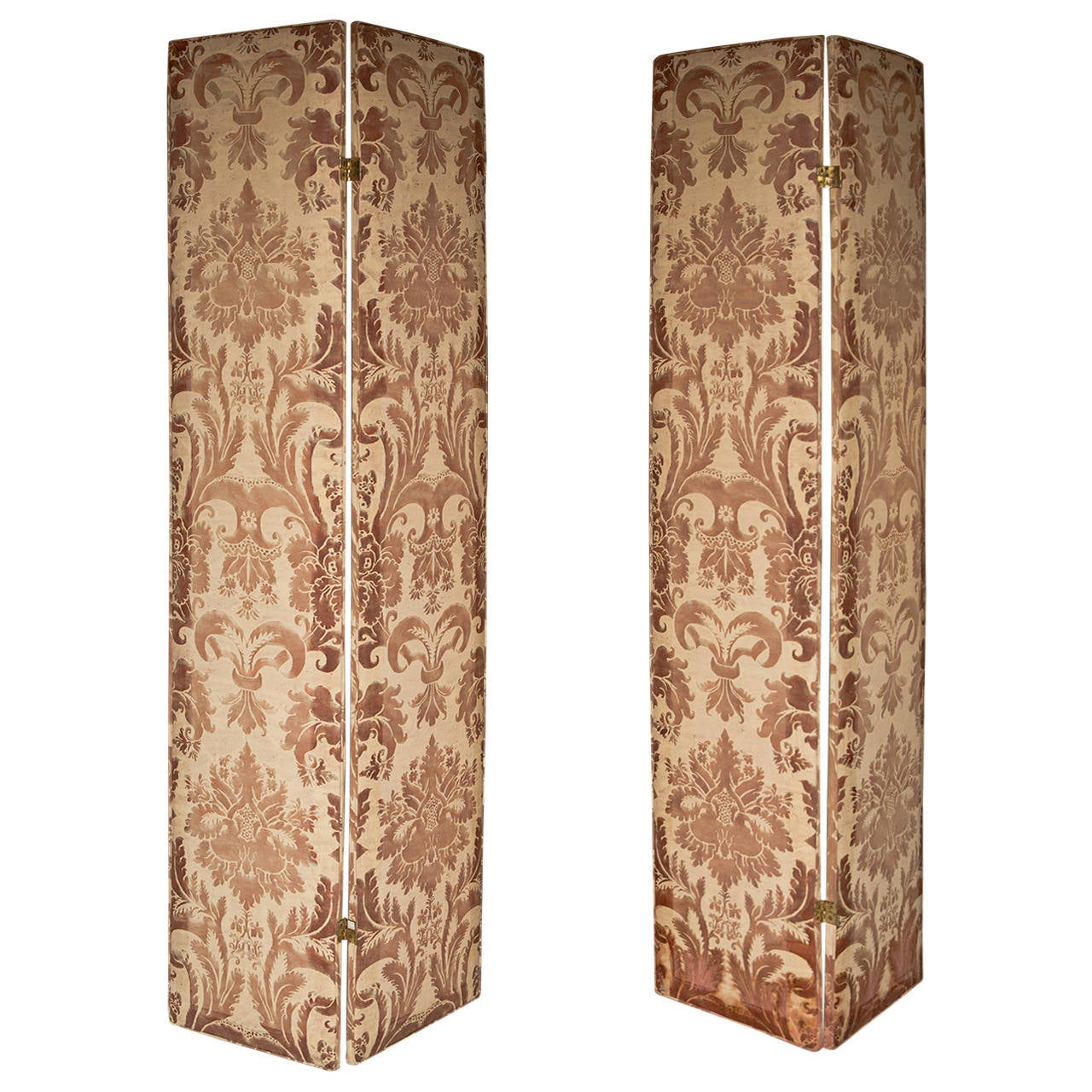 Pair of Modern Two-Panel Fortuny Style Screens 1