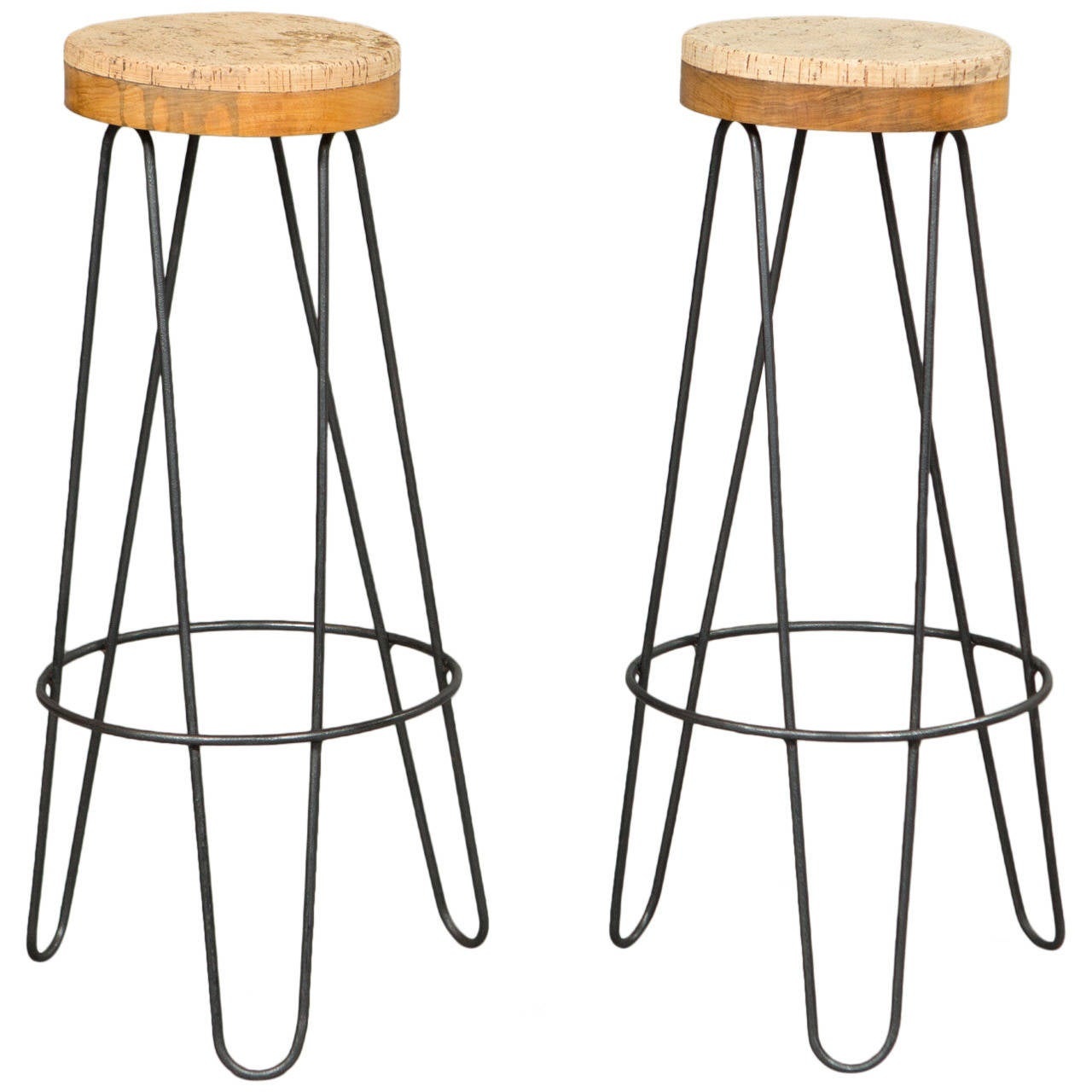 Pair of 1960s Industrial Stools with Cork Tops For Sale