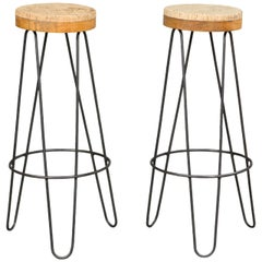 Pair of 1960s Industrial Stools with Cork Tops