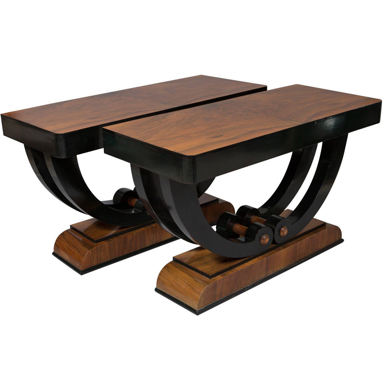 pair of art deco ebonized walnut console tables at 1stdibs. Black Bedroom Furniture Sets. Home Design Ideas