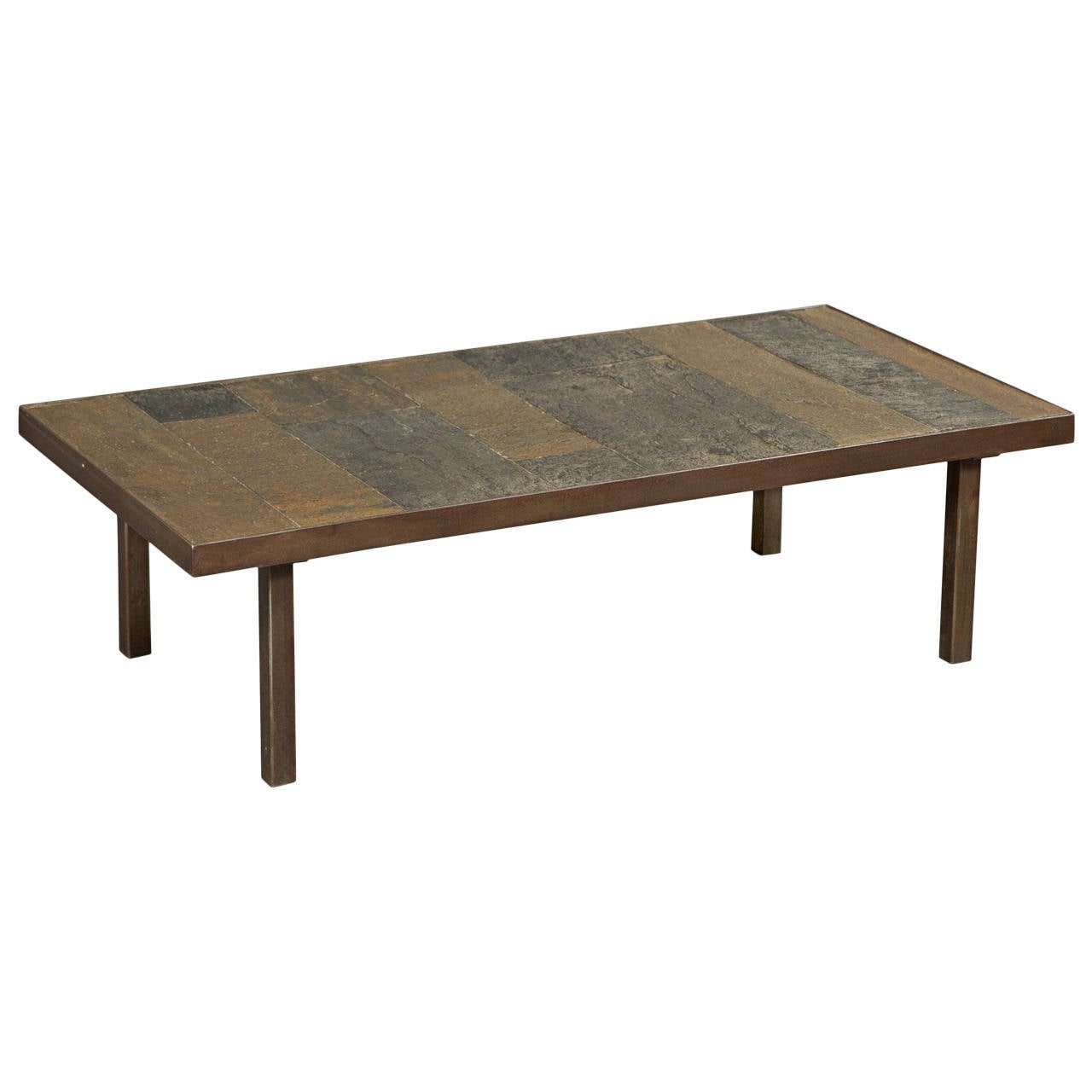 1960s Slate and Stone Coffee Table For Sale