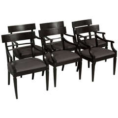 Ebonized Klismos Dining Chairs