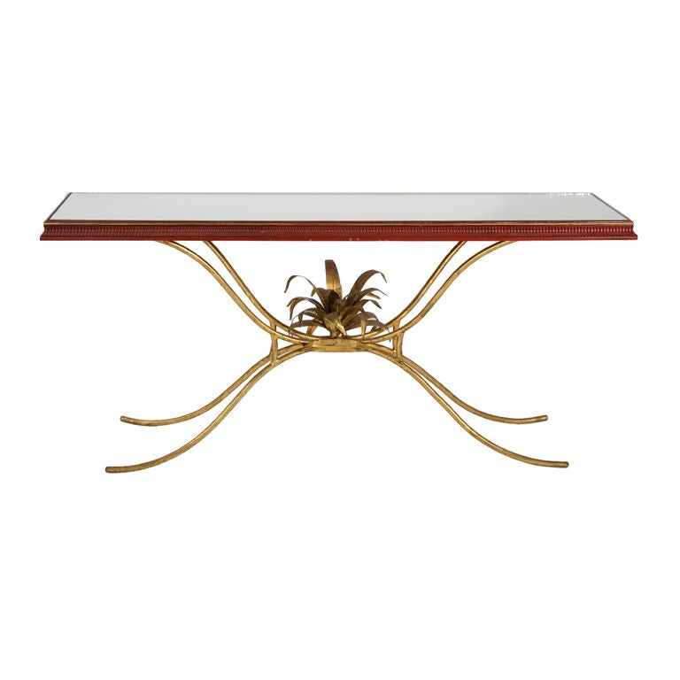 Mid-Century Gilt Iron Console For Sale