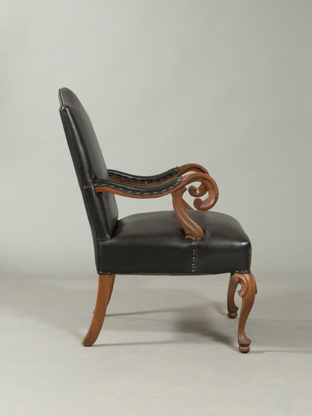 French Neo-Baroque Hand-Carved Louis XIII Style Armchair For Sale
