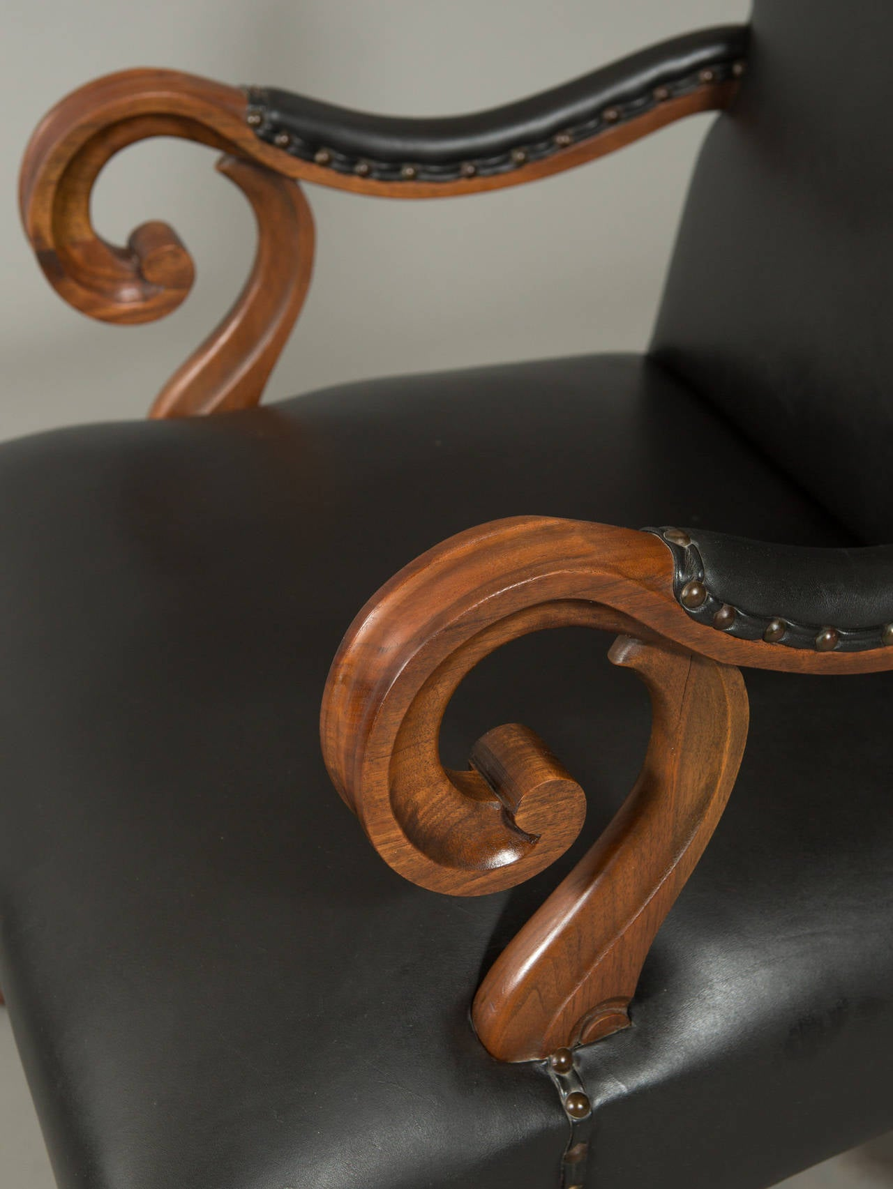 20th Century Neo-Baroque Hand-Carved Louis XIII Style Armchair For Sale