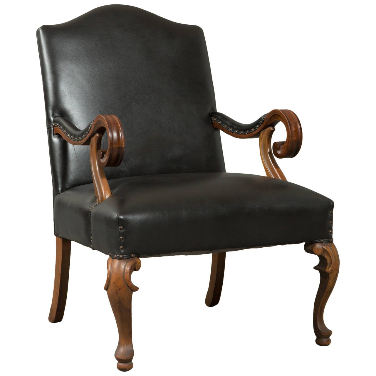 Neo-Baroque Hand-Carved Louis XIII Style Armchair 1